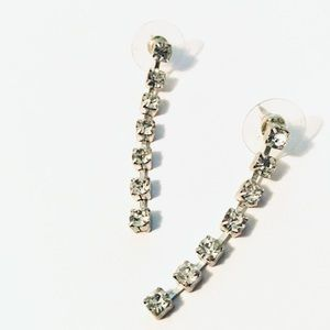 • gorgeous faux diamond dangle stud earrings •